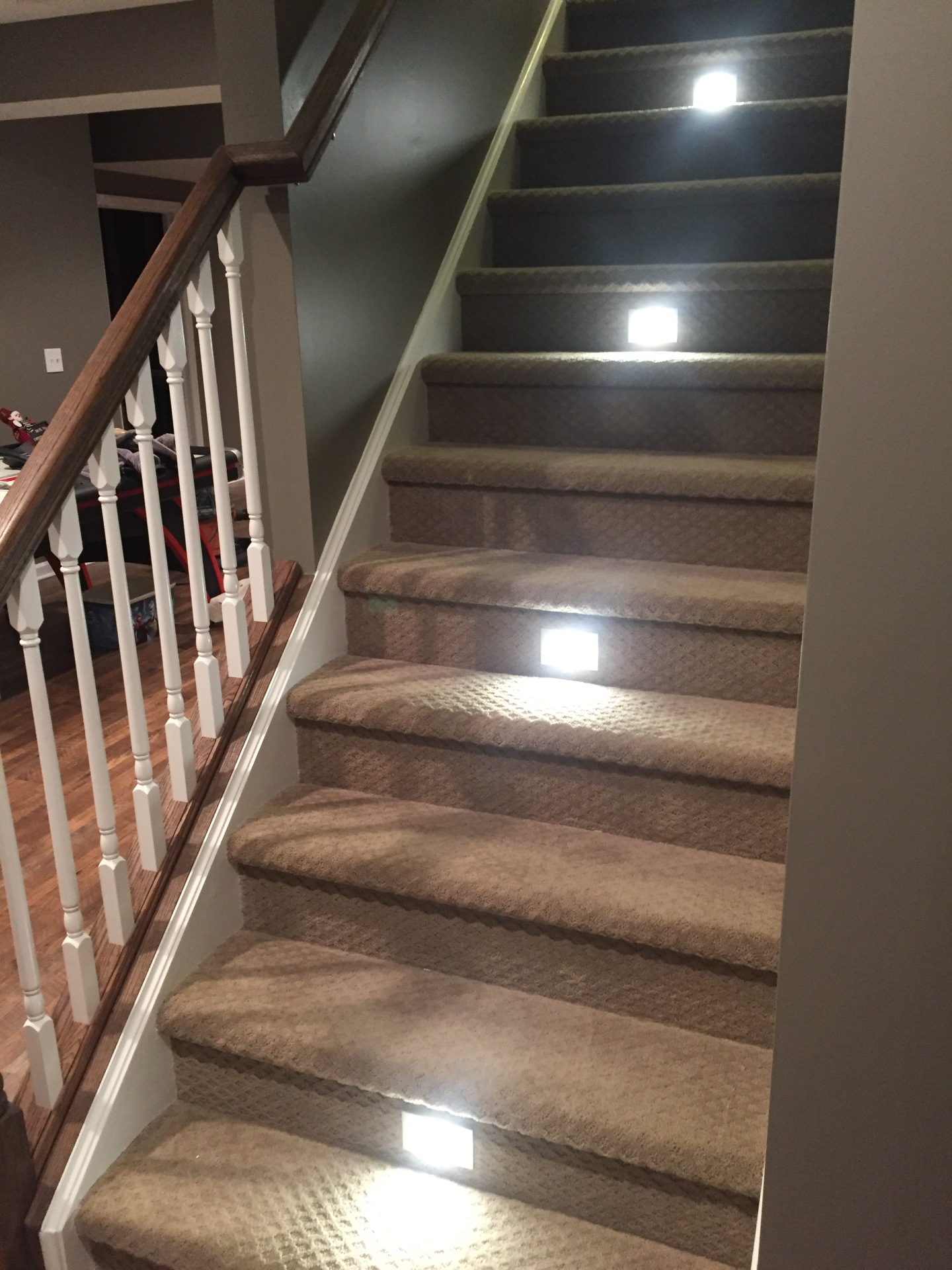 Basement stair lights